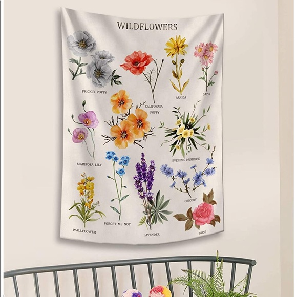 UO Wildflowers Reference Chart Wall Tapestry